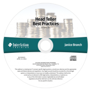 Head Teller Training Webinar with Janice Branch, CBTP