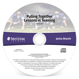 Pulling Together: Lessons in Teaming webinar with Janice Branch