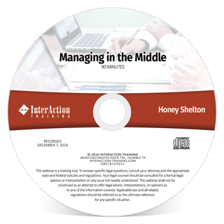 Managing in the Middle recorded webinar with Honey Shelton for middle managers