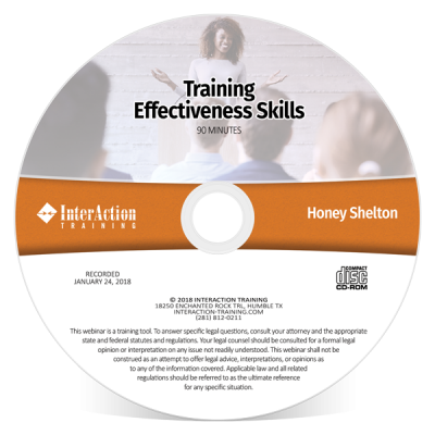 Training Effectiveness Skills webinar on CD-ROM with Honey Shelton