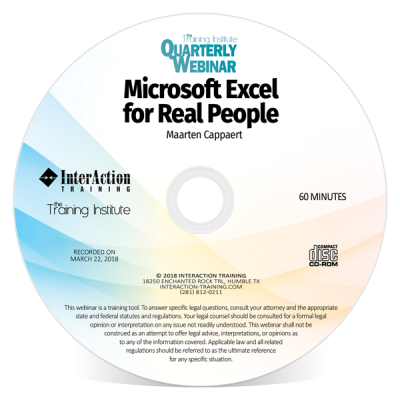 Microsoft Excel For Real People Quarterly Webinar with Maarten Cappaert
